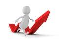 White 3d Man Running Arrow Way Forward. Success Concept Royalty Free Stock Photo