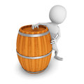 White 3d man with wooden wine barrel