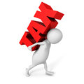 White 3D person carrying red word tax