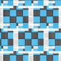 White dashed line on black blue square checkered pattern with wh Royalty Free Stock Photo