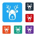 White Deer head with antlers icon isolated on white background. Set icons in color square buttons. Vector Royalty Free Stock Photo