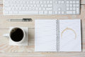 White Desk With Coffee and Keyboard Royalty Free Stock Photo