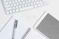 White Desk Tablet Grid Screen Royalty Free Stock Photo