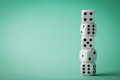 White dice on green background. Gambling devices. Copy space for text. Game of chance concept. Royalty Free Stock Photo
