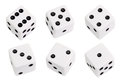 White dice isolated on background Stock Images