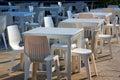 White dining tables the prachuap khiri khun province thailand Royalty Free Stock Photo