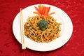 A white dish of Chicken Chow Mein Royalty Free Stock Images