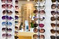 Selection of branded eyeglasses in an optician retail shop in Poland. Royalty Free Stock Photo