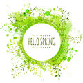 White doodle circle frame with text hello spring. Green paint splash background with leaves. Fresh vector design for banners, gree