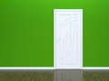 White door and green wall Royalty Free Stock Photo