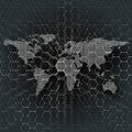 White dotted world map, connecting lines and dots on black color background.