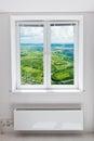 White double door window with radiator under it plastic domestic room Stock Photos