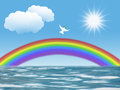 White dove flying to sun with olive leaf rainbow clouds christian symbol of peace and holy spirit