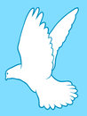 White dove of peace drawing a beautiful graceful in flight with outspread wings symbolic spirituality and love silhouette Stock Photography