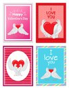 White Doves Couples with Heart Illustrations Set Royalty Free Stock Photo