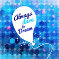 White drawn balloon with message on the blue hexagon background motivating poster and typography can be used together Stock Image