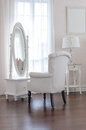 white dressing table with classic chair aand elegance mirror in Royalty Free Stock Photo