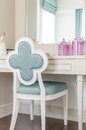 white dressing table with wooden chair Royalty Free Stock Photo