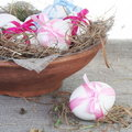 White Easter Eggs in Nest Bowl Royalty Free Stock Photo