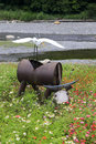 White egret on water buffalo produced of recycled materials ilan green expo is an annual activity ilan county government held in Stock Image