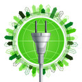 White electricity plug over the earth green with buildings ecological concept eps Stock Photo