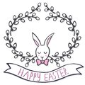 White elegant bunny in willow wreath spring holiday Easter card with wishes