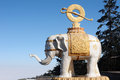 White elephant statue in a buddhist temple in sichuan china Stock Photography