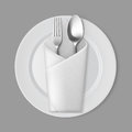 White Empty Flat Round Plate Silver Fork Spoon Envelope Napkin Royalty Free Stock Photo