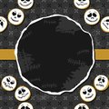 White faces wreath Halloween card with blank place Royalty Free Stock Photo