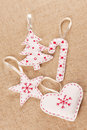 White felt Christmas decorations Royalty Free Stock Photos