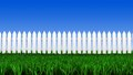 White fence and grass d illustration of field in front of the Stock Photo