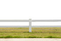 White fence on grassland isolated background Royalty Free Stock Photo