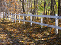 White fence made of wood near the woods and the road covered of leaves during Fall-Stock photos Royalty Free Stock Photo