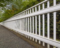 White fence in perspective view Royalty Free Stock Image