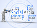 White figure revealing social media terms with a megaphone human Royalty Free Stock Images