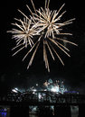 White Fireworks Burst Over the Cincinnati Skyline Royalty Free Stock Photo