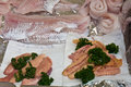 White fish and roe for sale at a parisian market Royalty Free Stock Photo