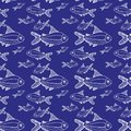 White fishes big and small pattern blue background
