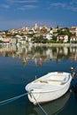 White fishing boat and Seget donji Royalty Free Stock Photo