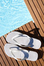 White flipflops Royalty Free Stock Images