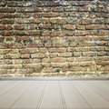 White floor with old brick wall interior room