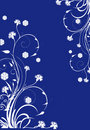 White floral curles on blue background Stock Images