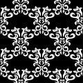 White floral design on black background. Seamless pattern