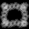 White floral frame of black and spiral lacy flower shapes Royalty Free Stock Photo