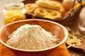 White flour and fresh pastries Stock Image