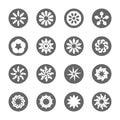 White flower flat icon set
