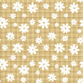 White flowers on a beige wicker background seamless pattern with Royalty Free Stock Photography