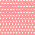 White flowers on coral background. vector seamless pattern