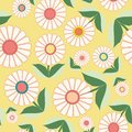 White flowers and green leaves in floral folk art design. Seamless vector pattern on fresh yellow background. Great for