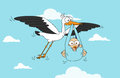 White flying stork delivery smiling baby boy Stock Images